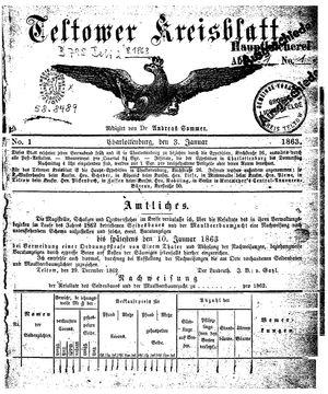 Teltower Kreisblatt vom 03.01.1863