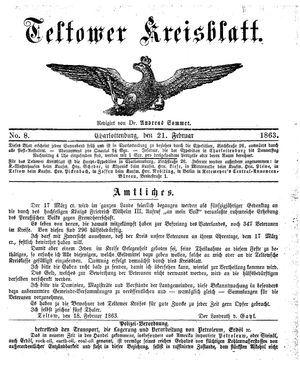 Teltower Kreisblatt on Feb 21, 1863