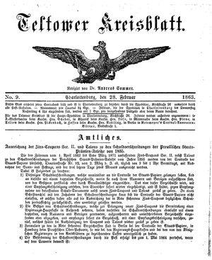 Teltower Kreisblatt on Feb 28, 1863