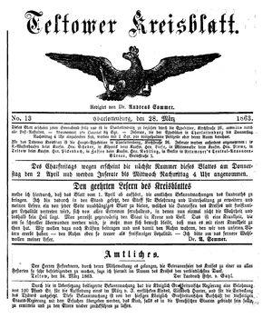 Teltower Kreisblatt vom 28.03.1863