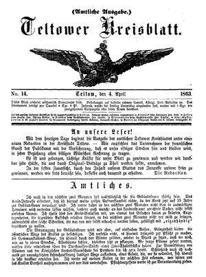 Teltower Kreisblatt vom 04.04.1863