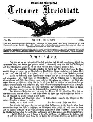 Teltower Kreisblatt vom 11.04.1863