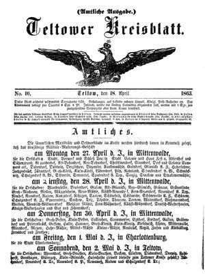 Teltower Kreisblatt on Apr 18, 1863