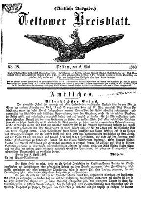 Teltower Kreisblatt vom 02.05.1863