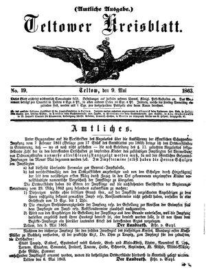 Teltower Kreisblatt vom 09.05.1863