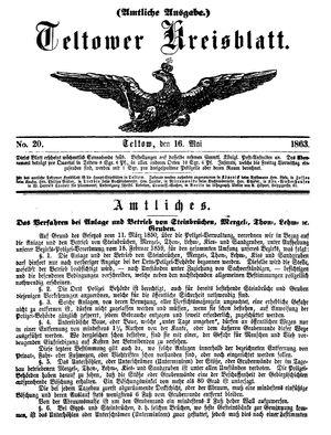 Teltower Kreisblatt vom 16.05.1863