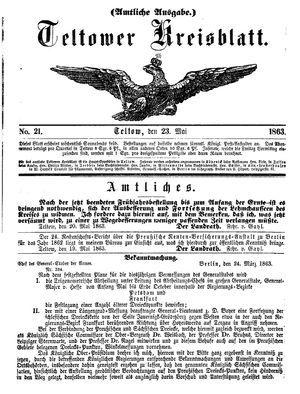 Teltower Kreisblatt vom 23.05.1863
