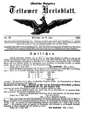 Teltower Kreisblatt vom 06.06.1863