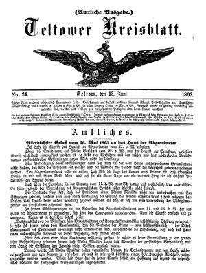 Teltower Kreisblatt vom 13.06.1863