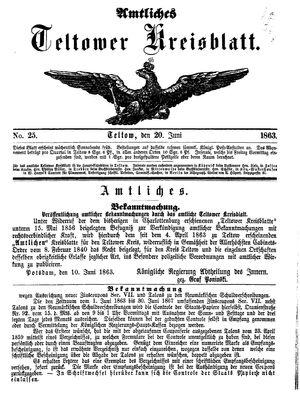 Teltower Kreisblatt vom 20.06.1863
