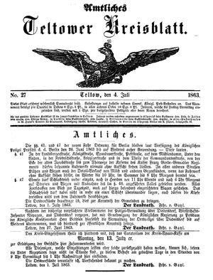 Teltower Kreisblatt on Jul 4, 1863