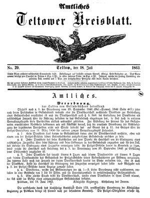 Teltower Kreisblatt vom 18.07.1863