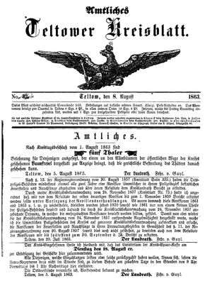 Teltower Kreisblatt vom 08.08.1863