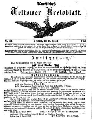 Teltower Kreisblatt vom 15.08.1863