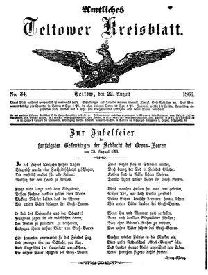 Teltower Kreisblatt vom 22.08.1863