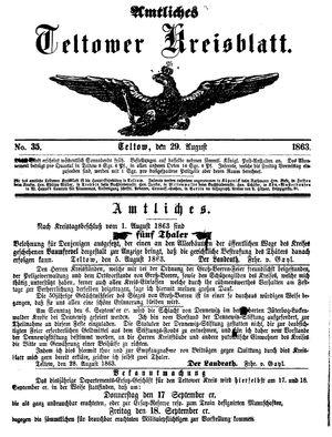 Teltower Kreisblatt vom 29.08.1863
