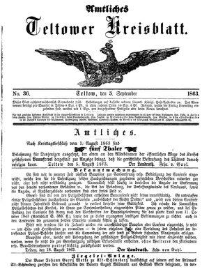 Teltower Kreisblatt vom 05.09.1863