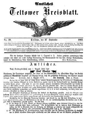 Teltower Kreisblatt vom 27.09.1863