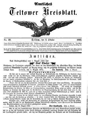 Teltower Kreisblatt vom 03.10.1863