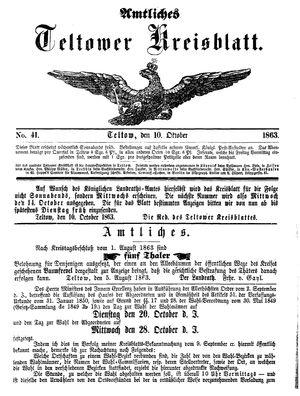 Teltower Kreisblatt vom 10.10.1863
