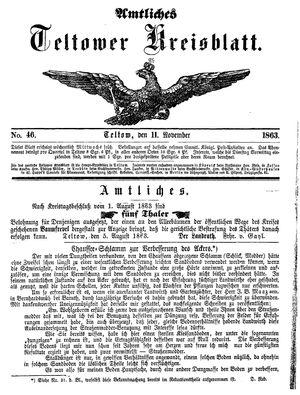 Teltower Kreisblatt vom 11.11.1863