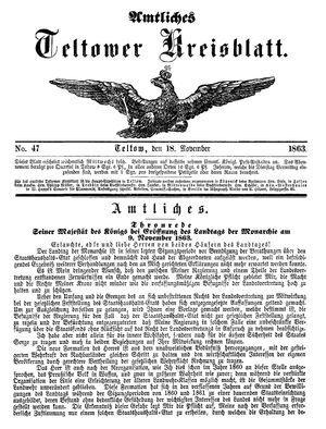 Teltower Kreisblatt on Nov 18, 1863