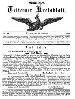 Teltower Kreisblatt on Nov 25, 1863