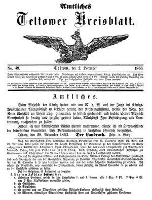 Teltower Kreisblatt on Dec 2, 1863