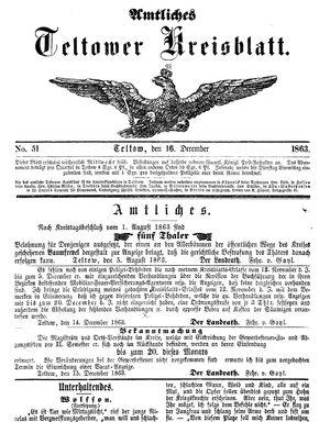 Teltower Kreisblatt vom 16.12.1863