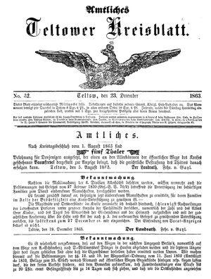 Teltower Kreisblatt vom 23.12.1863