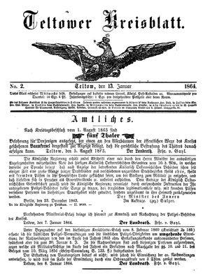 Teltower Kreisblatt vom 13.01.1864