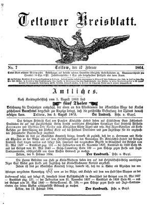 Teltower Kreisblatt vom 17.02.1864
