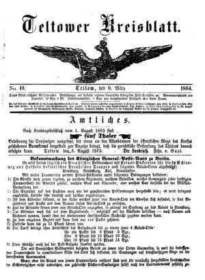 Teltower Kreisblatt vom 09.03.1864