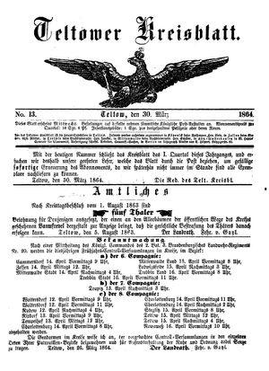 Teltower Kreisblatt vom 30.03.1864