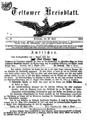 Teltower Kreisblatt vom 27.04.1864