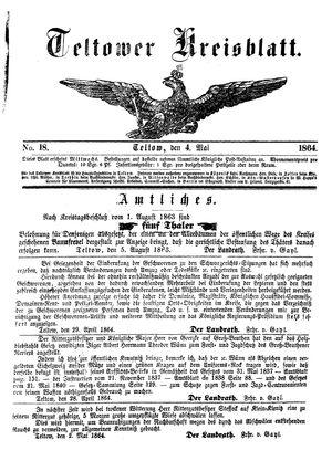 Teltower Kreisblatt vom 04.05.1864