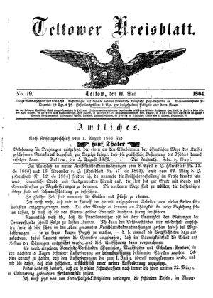 Teltower Kreisblatt vom 11.05.1864