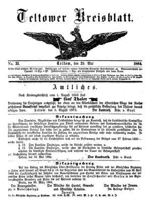 Teltower Kreisblatt vom 25.05.1864