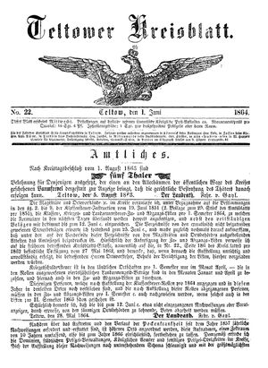 Teltower Kreisblatt vom 01.06.1864