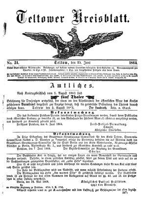 Teltower Kreisblatt vom 15.06.1864