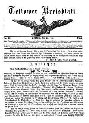 Teltower Kreisblatt vom 29.06.1864
