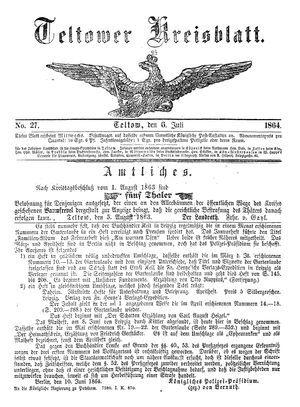 Teltower Kreisblatt vom 06.07.1864