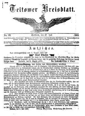 Teltower Kreisblatt vom 27.07.1864