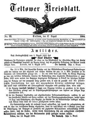 Teltower Kreisblatt vom 17.08.1864