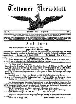 Teltower Kreisblatt vom 07.09.1864