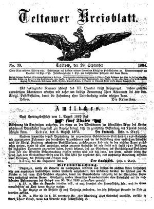 Teltower Kreisblatt vom 28.09.1864
