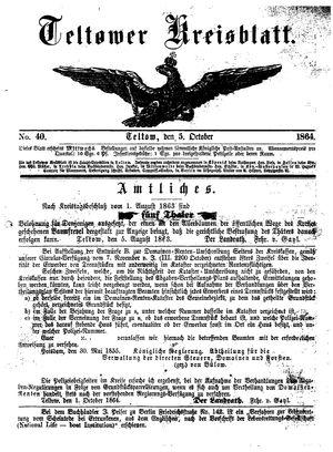 Teltower Kreisblatt vom 05.10.1864