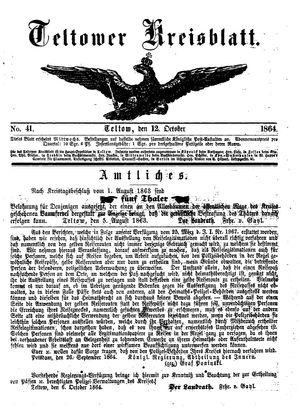 Teltower Kreisblatt vom 12.10.1864
