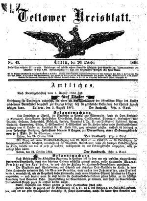 Teltower Kreisblatt vom 26.10.1864