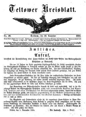 Teltower Kreisblatt vom 16.11.1864